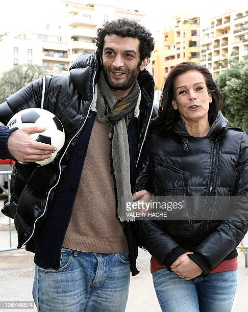 Princess Stephanie of Monaco and French humorist Ramzy pose on February 11 2012 in Monaco during the Show Beach Soccer Celebrities' Tournament The...