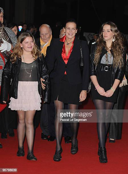 Princess Stephanie of Monaco and her daughters Camille Gottlieb and Pauline Ducruet arrive to attend Day two of the 34th International Circus...
