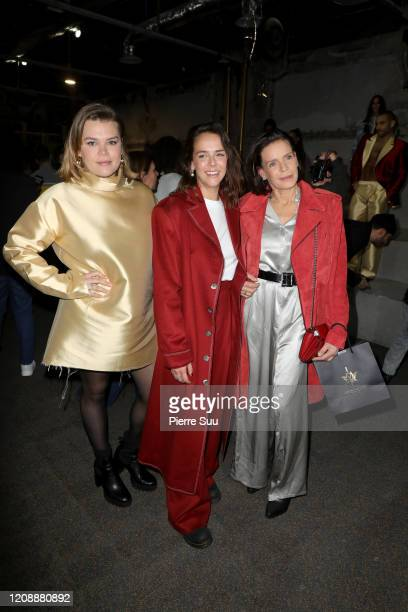 Princess Stephanie of Monaco and her daughters designer Pauline Ducruet and Camille Gottlieb attend the Alter show as part of the Paris Fashion Week...