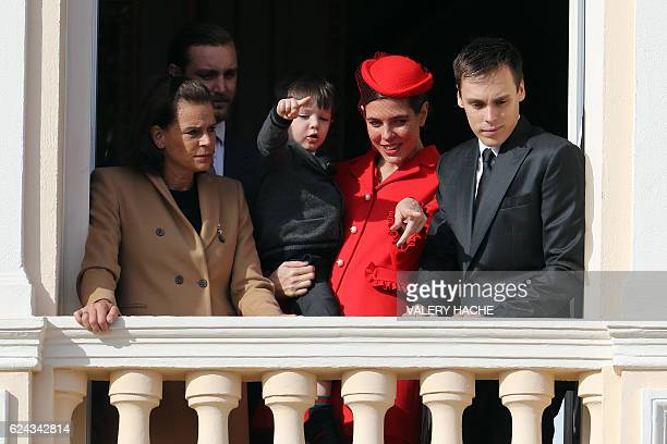 Princess Stephanie of Monaco and her son Louis Ducruet Monaco's Princess Charlotte Casiraghi holding her son Raphael appear on the balcony of the...