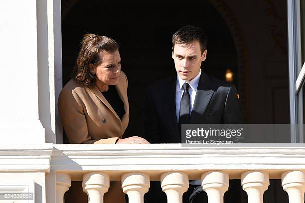 Princess Stephanie of Monaco and Louis Ducruet greet the crowd from the palace's balcony during the Monaco National Day Celebrations on November 19,...