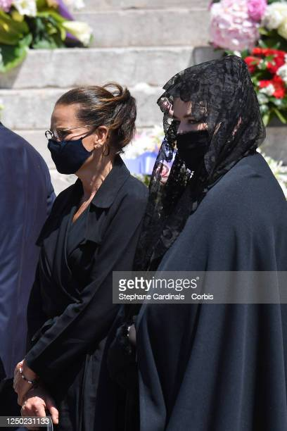 Princess Stephanie of Monaco and Melanie Antoinette de Massy leave the Monaco Cathedral after ElizabethAnn De Massy's Funerals on June 17 2020 in...