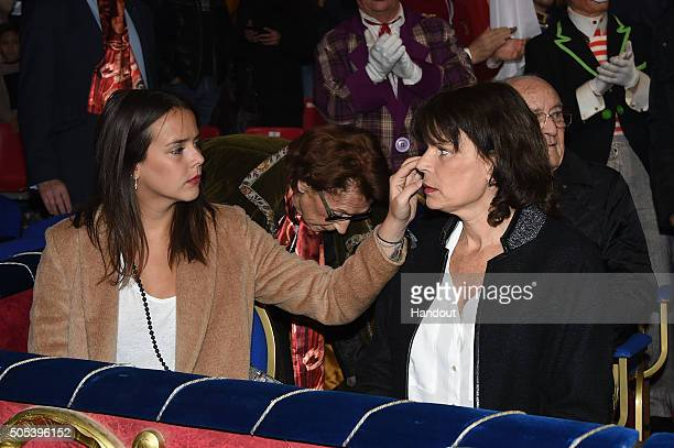 Princess Stephanie of Monaco and Pauline Ducruet attend the 40th International Circus Festival on January 17 2016 in Monaco Monaco