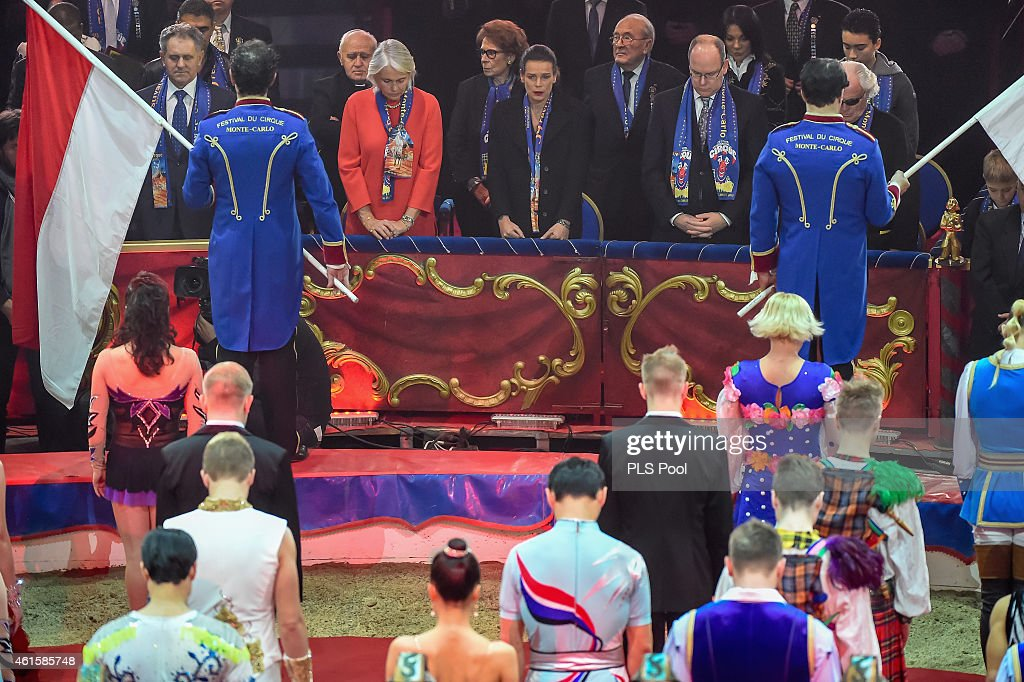 Princess Stephanie of Monaco and Prince Albert II of Monaco attend a minute of silence at the opening ceremony of the 39th International Circus Festival of Monte-Carlo on January 15, 2015 in Monaco, Monaco. The tribute was in honor of a 24 year old artist from 'Flic Flac Moto X' that died during rehearsals on January 14. (Photo by Frederic Nebinger/Palais Princier/PLS Pool via Getty Images