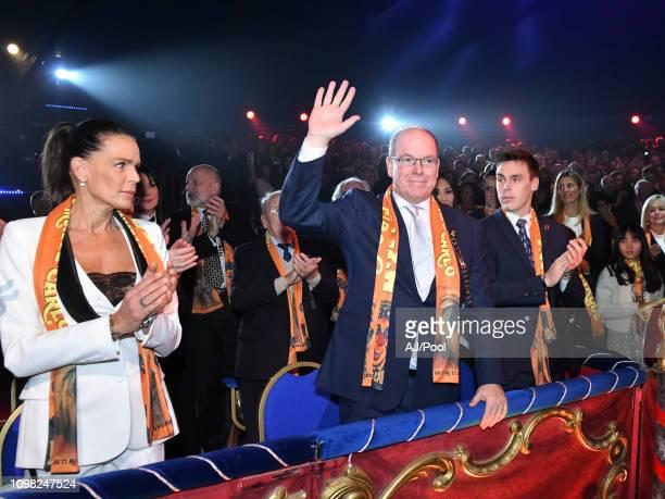 Princess Stephanie of Monaco and Prince Albert II of Monaco attend the 43rd International Circus Festival of MonteCarlo on January 22 2019 in Monaco...