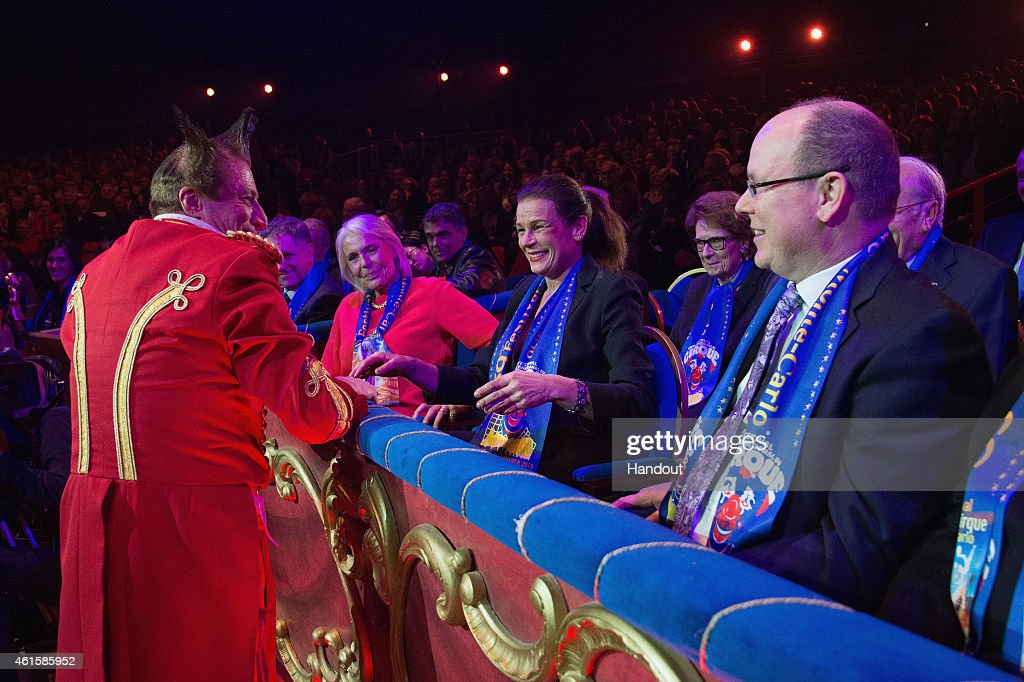 Princess Stephanie of Monaco and Prince Albert II of Monaco attend the opening ceremony of the 39th International Circus Festival of Monte-Carlo on January 15, 2015 in Monaco, Monaco.