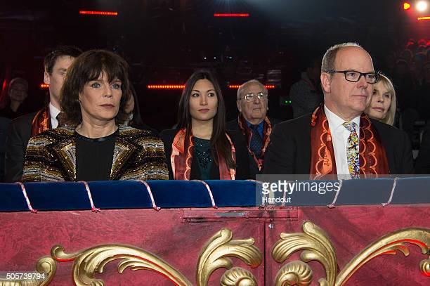 Princess Stephanie of Monaco and Prince Albert II of Monaco attend the 40th International Circus Festival on January 19 2016 in Monaco Monaco