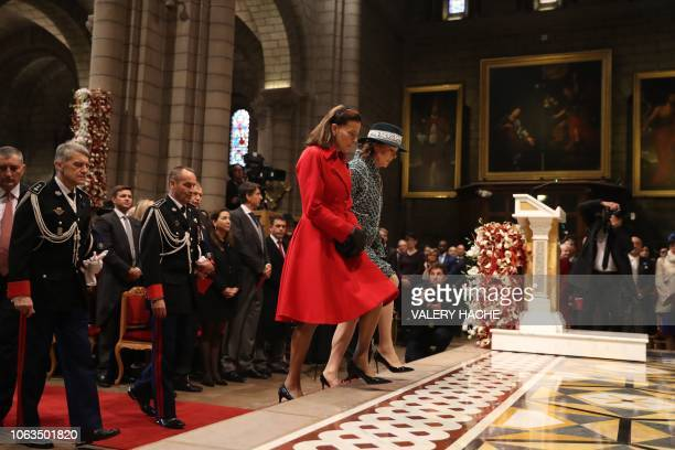 Princess Stephanie of Monaco and Princess Caroline of Hanover arrive at the cathedral to attend a mass as part of the celebrations marking Monaco's...