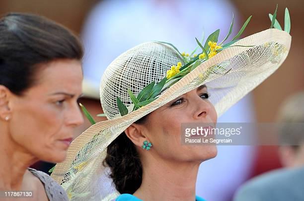 Princess Stephanie of Monaco and Princess Caroline of Hanover attend the civil ceremony of the Royal Wedding of Prince Albert II of Monaco to...