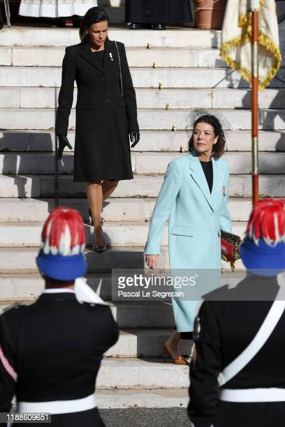 Princess Stephanie of Monaco and Princess Caroline of Hanover leave the cathedral during the Monaco National Day Celebrations on November 19 2019 in...