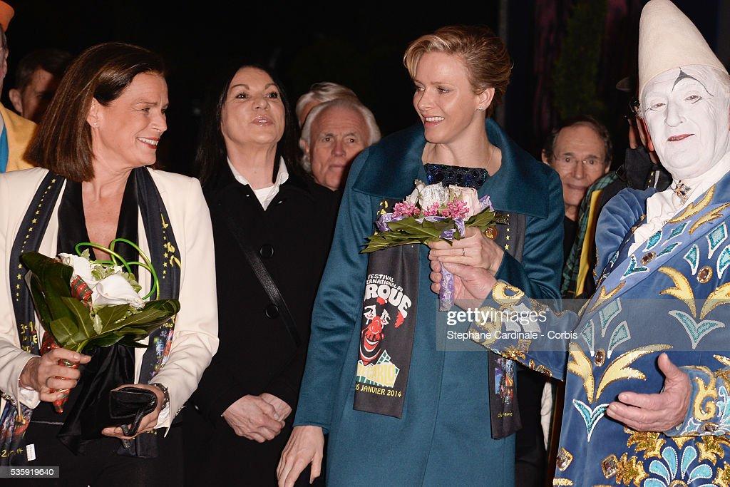 Princess Stephanie of Monaco and Princess Charlene of Monaco attend the 38th International Circus Festival on January 21, 2014 in Monte-Carlo, Monaco.