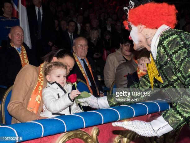Princess Stephanie of Monaco and Princess Gabriella attend the 43rd International Circus Festival of MonteCarlo on January 20 2019 in Monaco Monaco