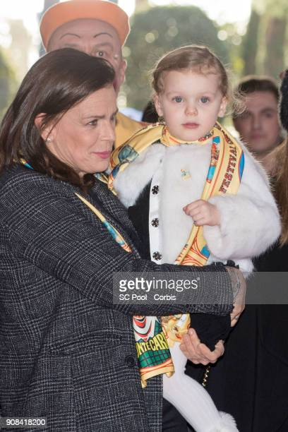 Princess Stephanie of Monaco and Princess Gabriella of Monaco attend the 42nd International Circus festival in Monte Carlo on January 21 2018 in...