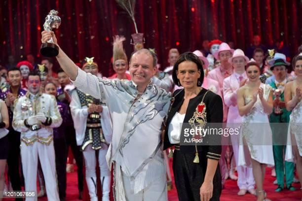 Princess Stephanie of Monaco and Sergey Nesterov attends the 44th International Circus Festival on January 21 2020 in Monaco Monaco
