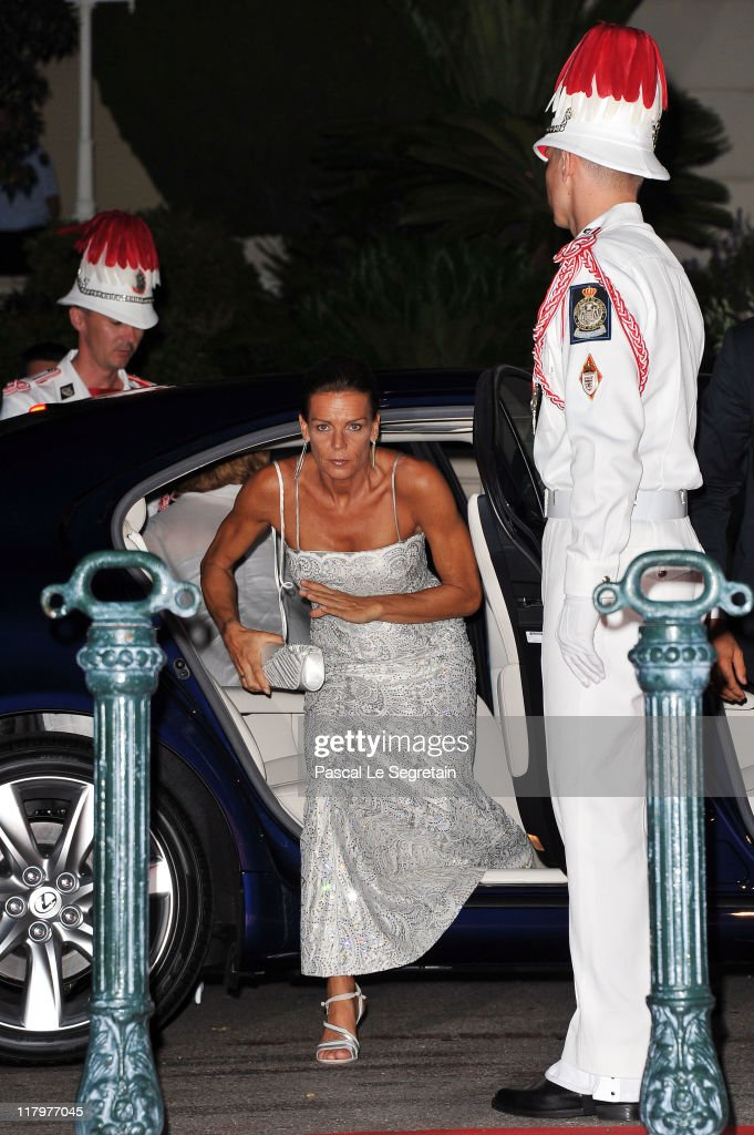 Princess Stephanie of Monaco attends a dinner at Opera terraces after the religious wedding ceremony of Prince Albert II of Monaco and Princess Charlene of Monaco on July 2, 2011 in Monaco. The Roman-Catholic ceremony followed the civil wedding which was held in the Throne Room of the Prince's Palace of Monaco on July 1. With her marriage to the head of state of the Principality of Monaco, Charlene Wittstock has become Princess consort of Monaco and gains the title, Princess Charlene of Monaco. Celebrations including concerts and firework displays are being held across several days, attended by a guest list of global celebrities and heads of state.