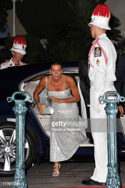 Princess Stephanie of Monaco attends a dinner at Opera terraces after the religious wedding ceremony of Prince Albert II of Monaco and Princess...
