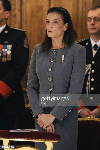 Princess Stephanie of Monaco attends the annual traditional Thanksgiving Mass as part of Monaco's National Day celebrations at Cathedral NotreDame on...