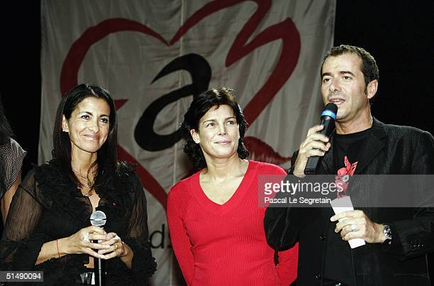 """Princess Stephanie of Monaco , Bernard Montiel and Deborah attend the second day of the """"Fight Aids Monaco"""" concert on October 17, 2004 in Avignon,..."""