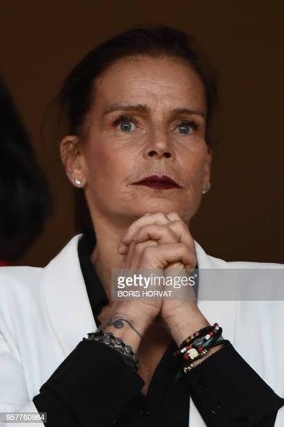 Princess Stephanie of Monaco looks on ahead the French L1 football match Monaco vs St Etienne on May 12 2018' at the Louis II Stadium in Monaco