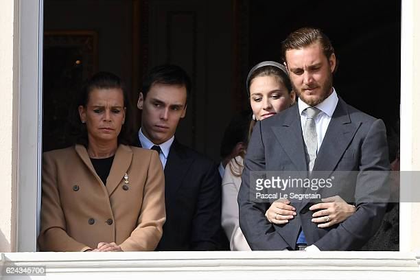Princess Stephanie of Monaco, Louis Ducruet, Beatrice Borromeo and Pierre Casiraghi greet the crowd from the palace's balcony during the Monaco...
