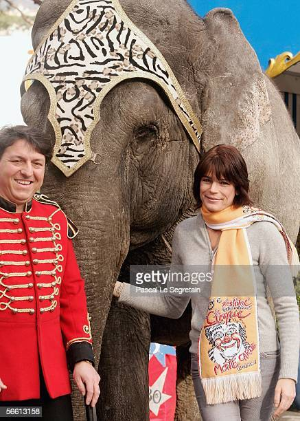 Princess Stephanie of Monaco poses with an elephant ahead of the 30th International Circus Festival of Monte Carlo on January 18 2006 in Monte Carlo...