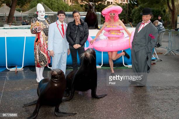 JANUARY 12 Princess Stephanie of Monaco poses with Duss Family sea lions alongside clowns Chico Joe and Tico Charly during previews for the 34th...