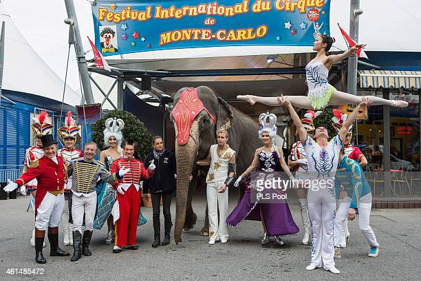 Princess Stephanie of Monaco poses with the Fumagalli family during a Press conference to launch the 39th International Circus Festival on January 13...