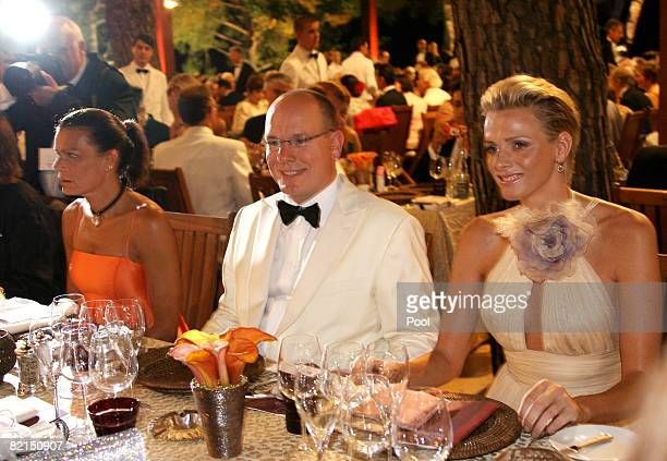 Princess Stephanie of Monaco Prince Albert II of Monaco and Charlene Wittstock attend the 60th Monte Carlo Red Cross Ball Dinner on August 1 2008 in...
