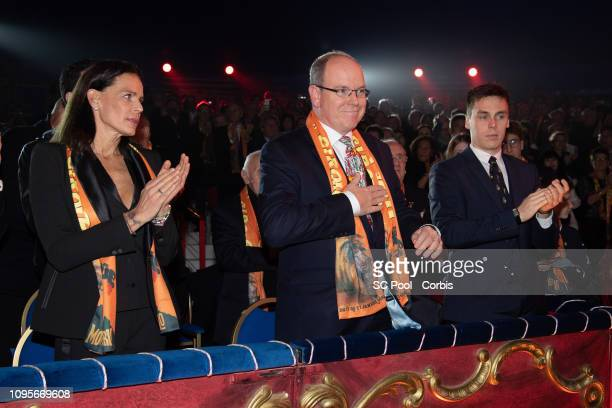 Princess Stephanie of Monaco Prince Albert II of Monaco and Louis Ducruet attend the opening ceremony of the 43rd International Circus Festival of...
