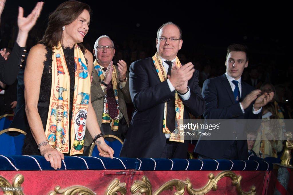 Princess Stephanie of Monaco, Prince Albert II of Monaco and Louis Ducruet attend the 42nd international circus festival in Monte Carlo on January 23, 2018 in Monaco, Monaco.
