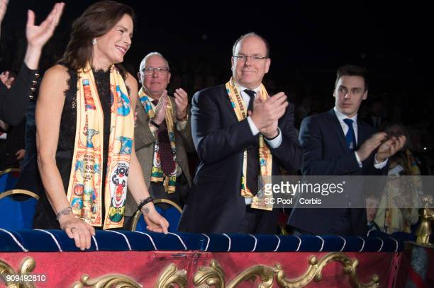 Princess Stephanie of Monaco, Prince Albert II of Monaco and Louis Ducruet attend the 42nd international circus festival in Monte Carlo on January...