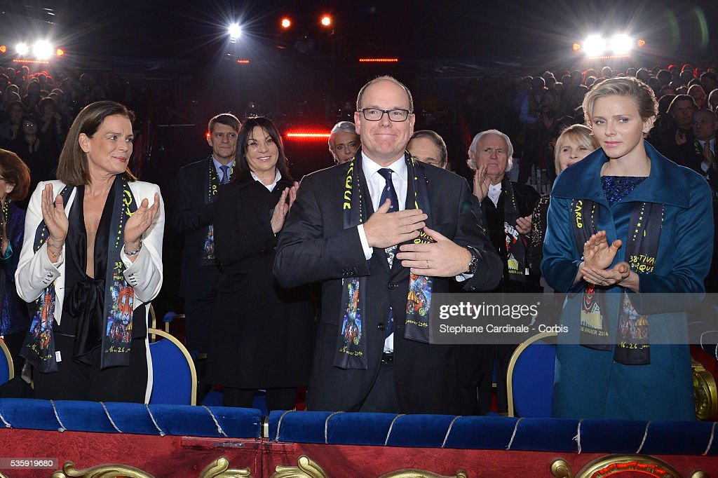 Princess Stephanie of Monaco, Prince Albert II of Monaco and Princess Charlene of Monaco attend the 38th International Circus Festival on January 21, 2014 in Monte-Carlo, Monaco.
