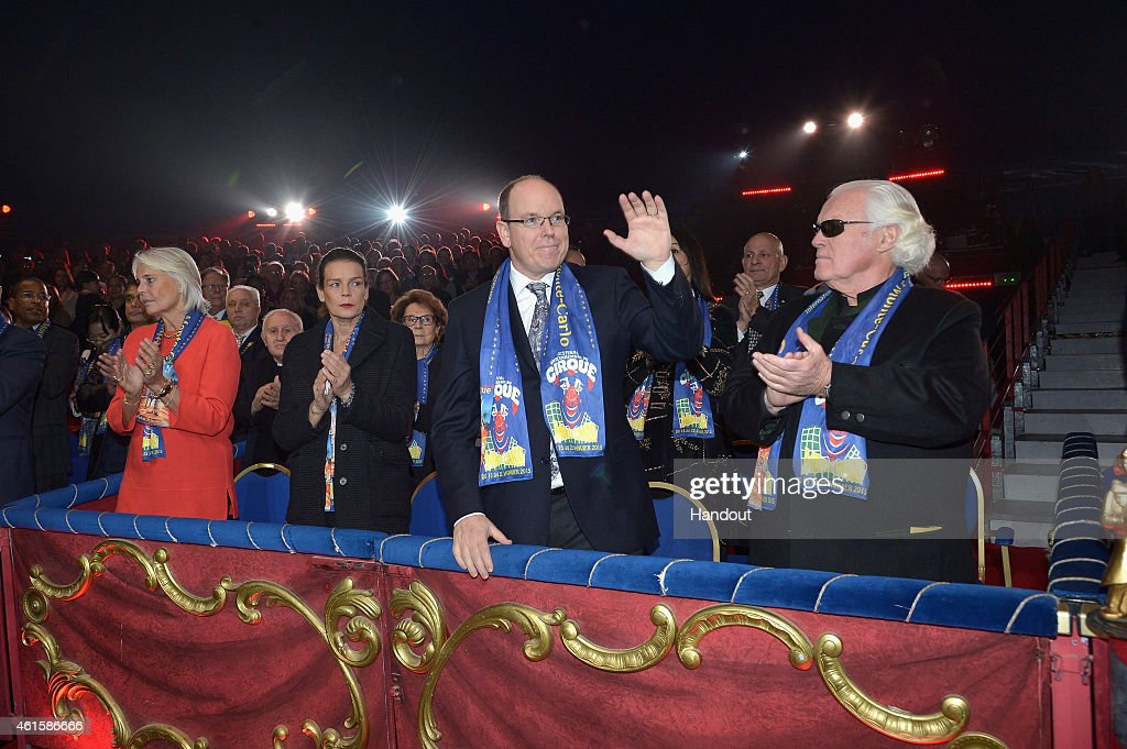 Princess Stephanie of Monaco, Prince Albert II of Monaco and Yves Piaget attend the opening ceremony of the 39th International Circus Festival of Monte-Carlo on January 15, 2015 in Monaco, Monaco.