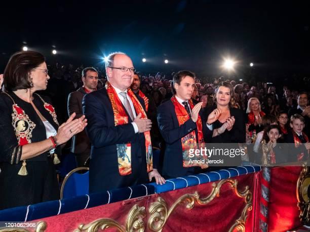 Princess Stephanie of Monaco Prince Albert II of Monaco LOuis Ducruet and Camille Gottlieb attend the 44th International Circus Festival on January...