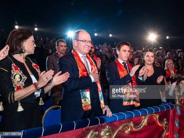 Princess Stephanie of Monaco, Prince Albert II of Monaco, Louis Ducruet and Camille Gottlieb attend the 44th International Circus Festival on January...