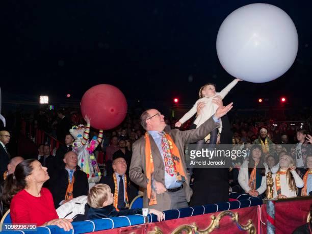 Princess Stephanie of Monaco Prince Jacques Prince Albert II of Monaco and Princess Gabriella attend the 43rd International Circus Festival of...