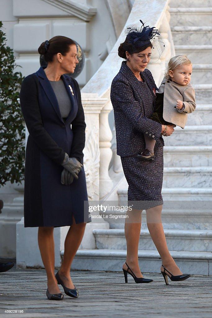 Princess Stephanie of Monaco, Princess Caroline of Hanover and Sacha Casiraghi attend the Monaco National Day Celebrations in the Monaco Palace Courtyard on November 19, 2014 in Monaco, Monaco.