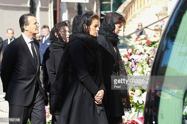 Princess Stephanie of Monaco , Princess Caroline of Hanover , Christian de Massy and Elisabeth-Anne de Massy attend the funeral of Princess...