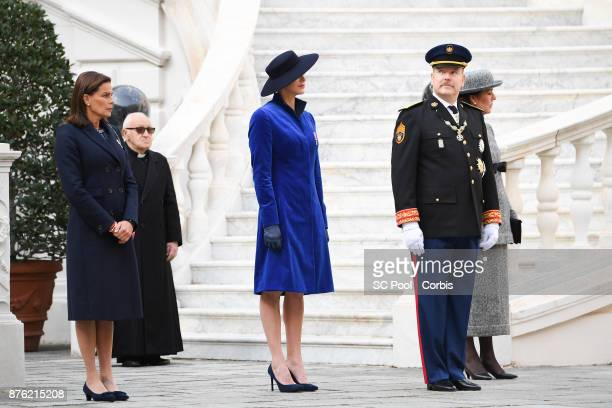 Princess Stephanie of Monaco Princess Charlene of Monaco and Prince Albert II of Monaco attend the Monaco National day celebrations in Monaco Palace...