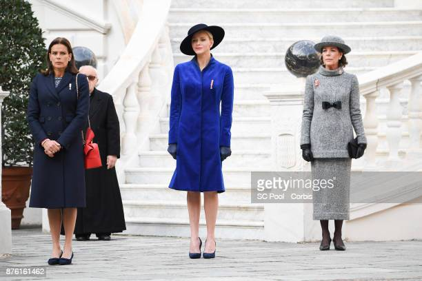 Princess Stephanie of Monaco, Princess Charlene of Monaco and Princess Caroline of Hanover attend the Monaco National day celebrations in Monaco...