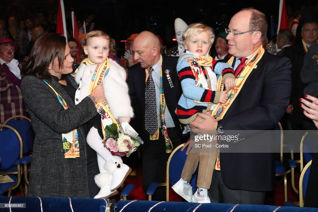 Princess Stephanie of Monaco, Princess Gabriella of Monaco, Prince Jacques of Monaco and Prince Albert II of Monaco attend the 42nd International Circus festival in Monte Carlo on January 21, 2018 in Monaco, Monaco.