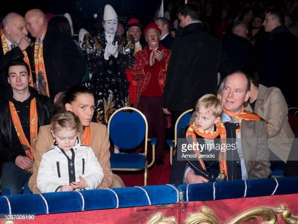 Princess Stephanie of Monaco Princess Gabriella Prince Albert II of Monaco and Prince Jacques attend the 43rd International Circus Festival of...