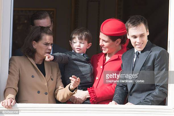 Princess Stephanie of Monaco Raphael Casiraghi Charlotte Casiraghi and Louis Ducruet greet the crowd from the palace's balcony during the Monaco...