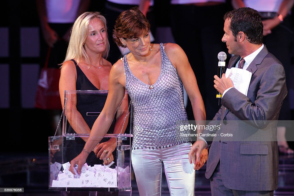 HSH Princess Stephanie of Monaco (Chairwoman of Fights Aids Monaco Association) with Bernard Montiel.