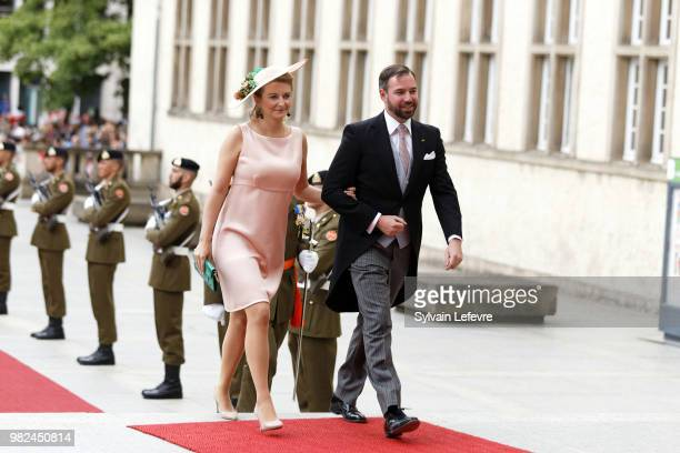 Princess Stephanie Prince Guillaume of Luxembourg arrive for Te Deum for National Day at Notre Dame du Luxembourg cathedral on June 23 2018 in...