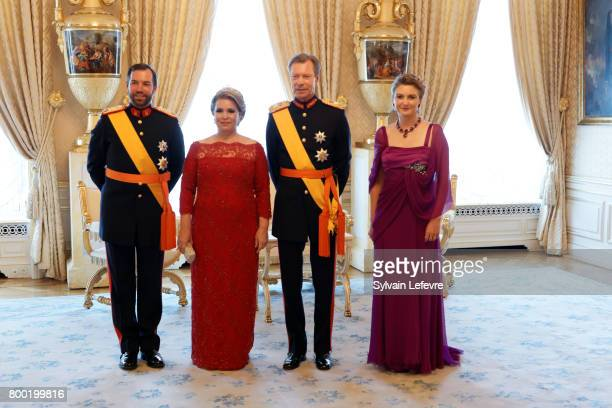 Princess Stephanie Prince Guillaume of Luxembourg Grand Duchess Maria Teresa of Luxembourg Grand Duke Henri of Luxembourg pose for photographers...