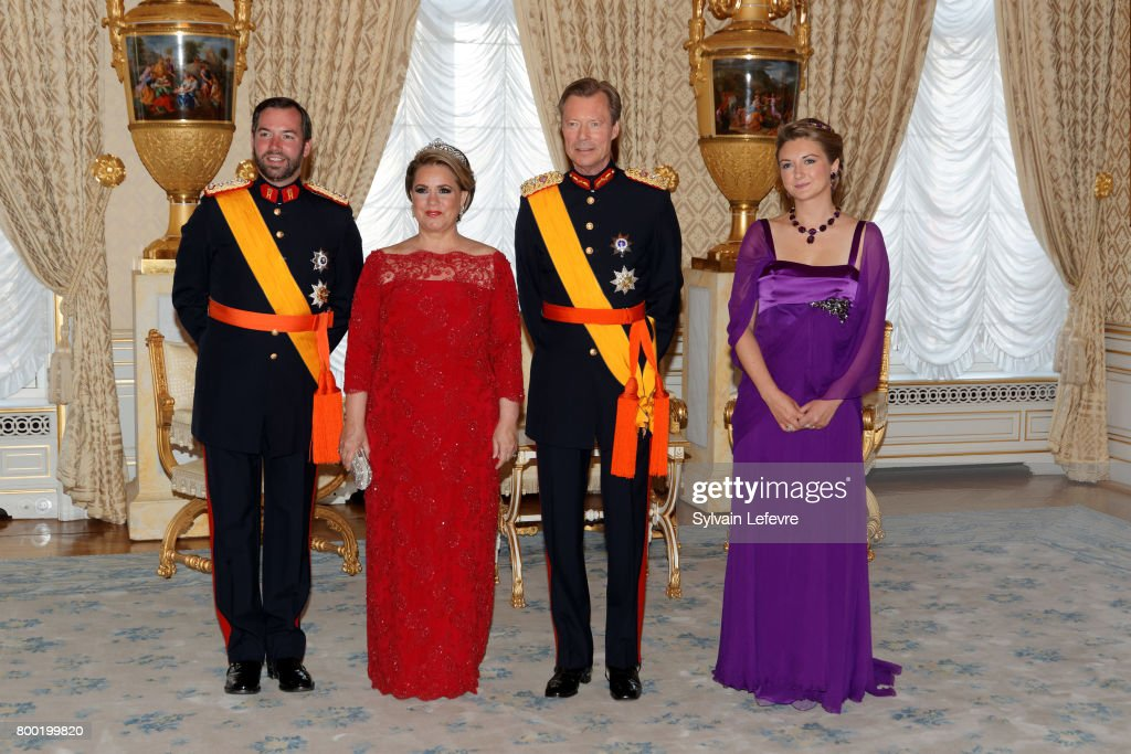 Princess Stephanie, Prince Guillaume of Luxembourg, Grand Duchess Maria Teresa of Luxembourg, Grand Duke Henri of Luxembourg pose for photographers before the official dinner for National Day at the ducal palace on June 23, 2017 in Luxembourg, Luxembourg.