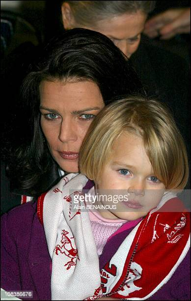 Princess Stephanie with her daughter Camille in her arms in Monaco on January 17 2003