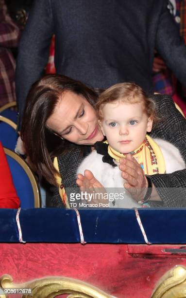 Princess StŽphanie of Monaco and Princess Gabrielle of Monaco attend the 42nd International Circus Festival in Monte Carlo on January 21 2018 in...