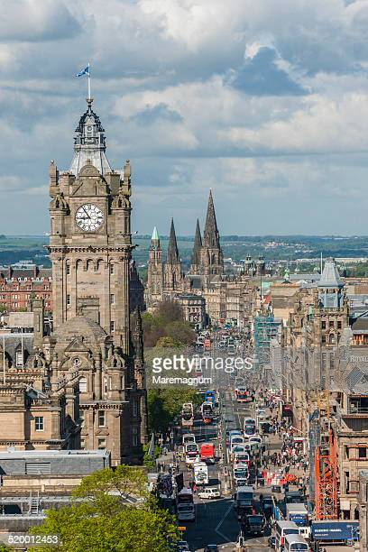 princess street view from calton hill - clock tower stock pictures, royalty-free photos & images